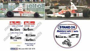 Decals marlboro McLaren M23 British GP GB 1975 pour Spark 1/43