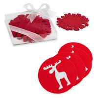 Set of 4 Christmas Round Red Felt Coasters Reindeer Snowflake Stocking Filler BN