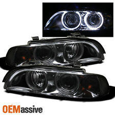 Smoked 97-03 E39 5-Series 525i 528i 530i 540i Halo Projector Headlights Lights