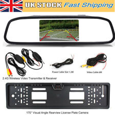 "WIRELESS 4.3"" LCD REAR VIEW MIRROR MONITOR CAR NUMBER PLATE REVERSING CAMERA KIT"