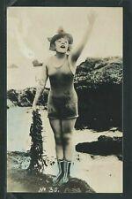 CA Los Angeles H/C RPPC c1918 RISQUE MACK SENNETT BATHING BEAUTY by Evans No. 30