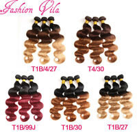 7A Brazilian Virgin Human Hair Extensions Weave Weft 1/3 Bundles Body Wave Ombre