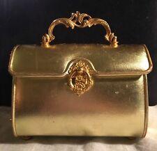 """VINTAGE NETTIE ROSENSTEIN AUTHENTIC BERGDORF GOODMAN GOLD BOXY """"LUNCHBOX"""" PURSE"""