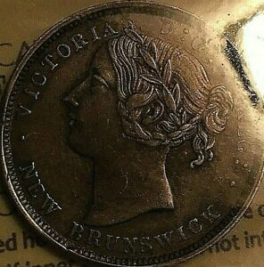 1864 New Brunswick Victoria Silver 20 Cents - ICCS EF-40