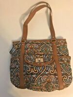 Tignanello Extra Large Brown Floral Canvas and Leather Shopper Tote