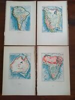 Vintage Continent Maps Prints 1932 Australia Africa North & South America Map