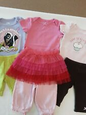 Lot X7 Baby Girls Mixed Lot Clothes S/S One-Piece, Leggings & Skirt Size 3-6 Mos