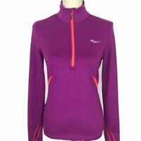 Saucony Purple 1/2 Zip Mock Athletic Running Pullover Womens Sz Sm Neon Pockets