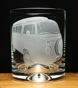 Camper Van VW Type 2 Bay Window engraved glass tumbler gift present