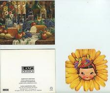 VINTAGE DAISY DOLL GIRL FRUIT HAT PRINT 1 LANG RUSTIC WINE BREAD CHEESE CARD