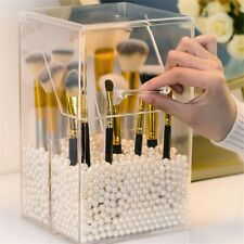 Desktop Storage Box Makeup Brushes Holder Acrylic Cosmetic Flip Top With Pearls