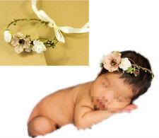 Newborn Baby Girls Khaki Lace up Garland Headband Flower Crown Photography Prop