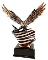 Wings of Glory Bald Eagle with American Flag Statue Bronze Finish Award Gift
