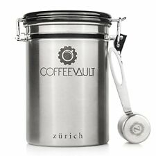 Zurich Coffee Vault Coffee Canister Airtight Protects Freshness Scoop Date Lid