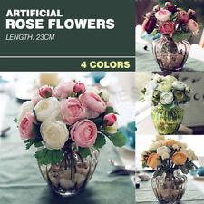 10/20 Haeds Artificial Rose Bouquet Silk Leaf Wedding Home Party Decoration