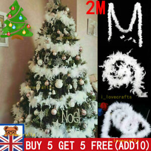 2M Christmas Tree White Feather Boa Strip Xmas Ribbon Garland Decor decorate-UK