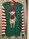 ugly christmas Holiday sweater Pug Dog Green Red White Stripe Size XL