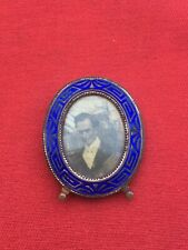 Antique Miniature Blue Guilloche Enamel Footed Picture Frame