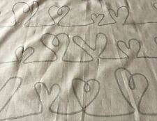 HEART  Abstract design fabric, 100 X 70cm, grey images on white material. Sewing