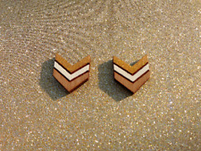 Gold and cream wooden chevron stud earrings - wooden jewellery