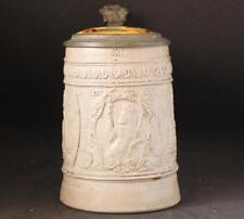 Antique German Stoneware Saltglazed Beer Stein King Gambrinus Regensburg c.1870s