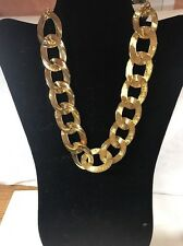Necklace 12 Inch Heavy Goldtone Chain Links Plus Matching Earrings T 42+
