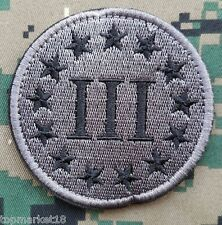 """3""""Round 3% III Three Percenter Percent Militray Tactical Hook Patch Acu Gray"""