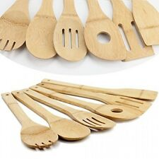 Huji Bamboo Wooden Kitchen Cooking Utensils Gadget Set of 6 (Spoon, Spatula,