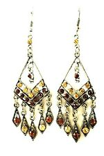 USA EARRING Rhinestone Crystal Brown Gold  gemstone Dangle Prom Party Vintage