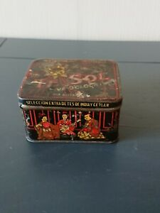 Vintage Tin Box of Tea, Te Sol, five o'clock