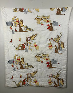 Vintage 1965 Sears WINNIE THE POOH Baby Crib Blanket Quilt Comforter W/ Flaws