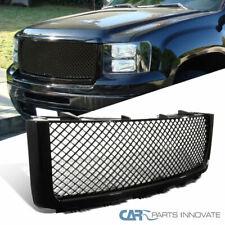 For GMC 07-13 Sierra 1500 Pickup Mesh Glossy Black Front Bumper Hood Grille