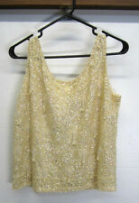 vtg Sequin Top Pale Yellow w/beaded tassels sleeveless tank fully lined wool L