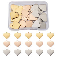 40pc 304 Stainless Steel Heart Stamping Blank Tag Charms Metal Pendant 16x15.5mm