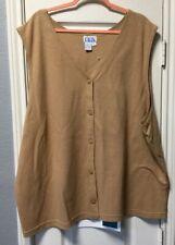 Women's Size 4X Tan Sleeveless Knit Button Front Cardigan by BFA Classics