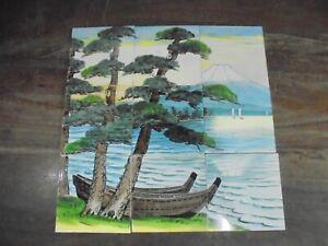 9 Pc Vintage Natural Lake Shore Scenery Design F.M Fish Mark Ceramic Tiles,Japan