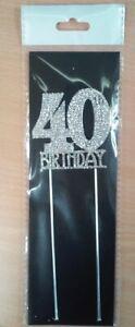 40th Birthday Diamante Cake Topper Decoration (6cm) Pk 1