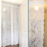 White Lace Floral Door Curtain Panel Room Divider W/ Rod Packet Mosquito Fly
