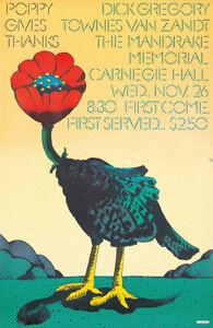 Original Vintage Poster Poppy Records Milton Glaser Music Gives Thanks 1960s Art