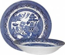 CHURCHILL BLUE WILLOW 6 COUPE SOUP BOWLS 20cm - NEW