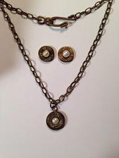 9mm Bullet Jewelry Ammo Necklace Earrings June Birthstone Pearl set choose brand