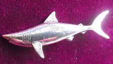 Game Fishing Pewter Jaws Shark Fishing Brooch Pin Signed