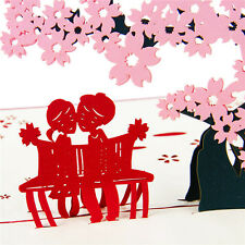 3D Pop Up Greeting Cards Sakura Birthday Valentines Anniversary Easter Postcards
