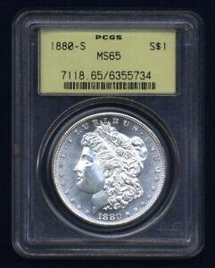 U.S. 1880-S MORGAN SILVER DOLLAR GEM BRILLIANT UNCIRCULATED PCGS CERTIFIED MS65