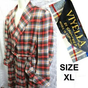 Vintage Viyella Caulfield Wool Cottton Flannel Red Plaid Smoking House Robe XL