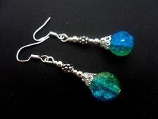 A PAIR BLUE/GREEN CRACKLE GLASS BEAD EARRINGS WITH 925 SOLID SILVER HOOKS. NEW.