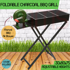 Large Portable Foldable Charcoal Wood BBQ Grill Camping Picnic Air Blower 80cm
