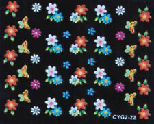 Nail art stickers ongles autocollants: fleurs papillons multicolores