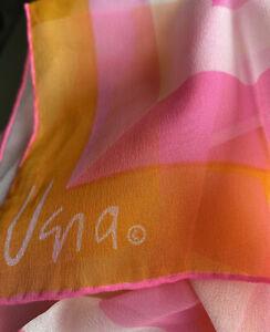 "Vera Neumann Scarf Oblong 45"" Pink Orange White Stripe Hand Rolled Sheer"