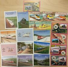 Lot of 21 beautiful train souvenir sheets of Various country's MNH
